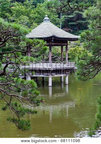 Japan. Narita. pavilion on the lake in park