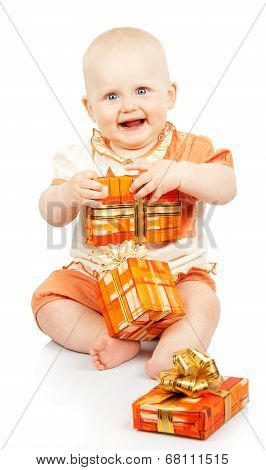Happy child holding a gift