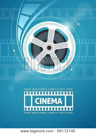 Cinema movie movie on disc and flares. Eps10 vector illustration.