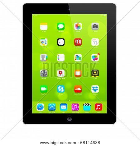 New iOS 7.1.2 homescreen on an black iPad display