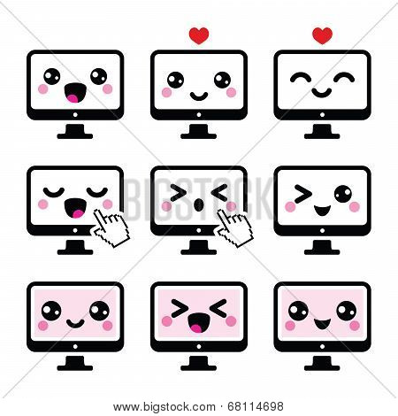 Japanese cute Kawaii character - computer icons set