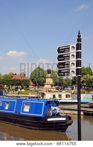 Narrowboat and sign, Stratford-upon-Avon.