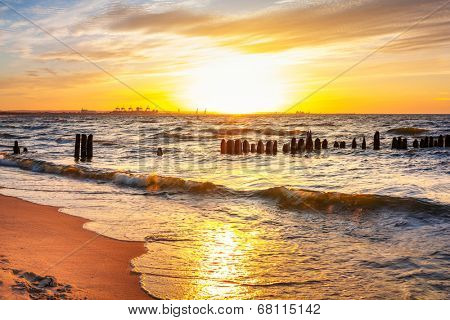 Sunset on the beach at Baltic Sea in Poland