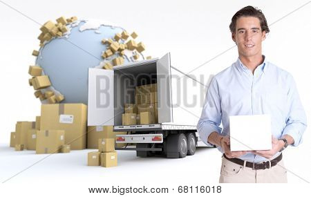 Young man holding a blank white box in an international transportation context, ideal for inserting your own message