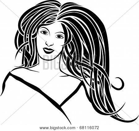 Girl portrait in style Art Nouveau