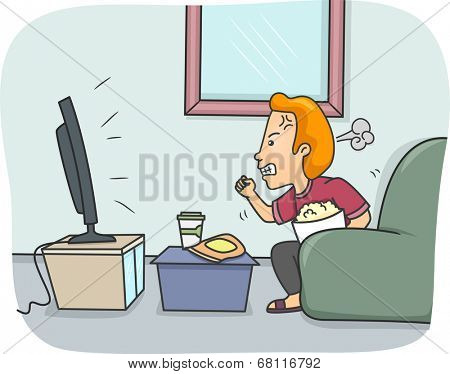 Illustration of a Man Getting Angry While Watching TV