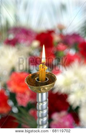 Toplovsky Holy Paraskeevsky Convent. A Candle Is In A Chapel