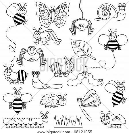Large Vector Set of Cute Cartoon Bug Line Art