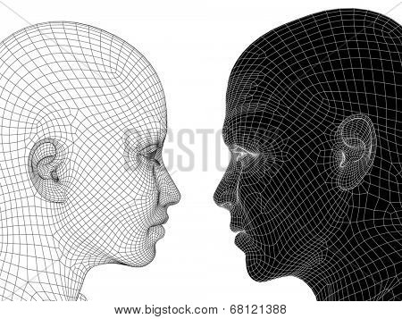 High resolution concept or conceptual black and white 3D wireframe human male or female head isolated on background