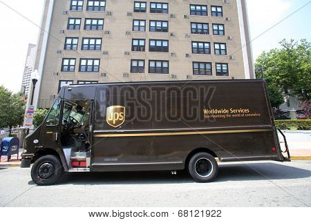 WEST NEW YORK, N.J. - THUR. JULY 3, 2014: An United Parcel Service ( UPS ) delivery truck in West New York, N.J., on Thursday, July 3, 2014.