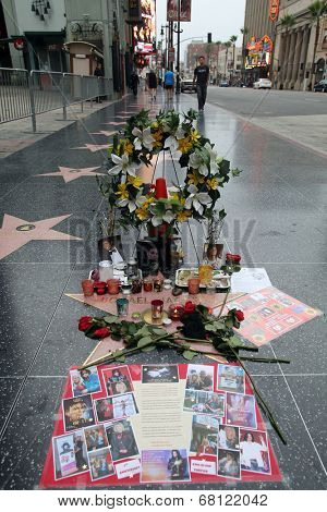 HOLLYWOOD, CALIFORNIA - WED. JUNE 25, 2014: A makeshift memorial covers Michal Jackson's star on the Walk of Fame in Hollywood, California, on Wednesday, June 25, 2014.