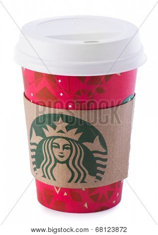 Ankara, Turkey - December 16, 2013:  A Starbucks coffee cup with new designed cup sleeve.