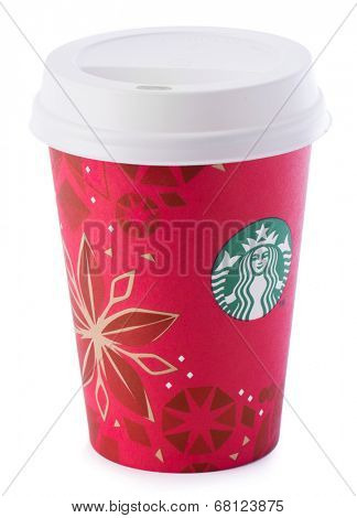 Ankara, Turkey - December 16, 2013:A Starbucks disposable coffee cup with new year design