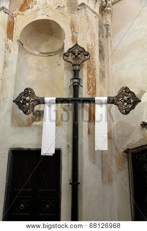 MONTEROSSO, ITALY - MAY 02: Cross, Oratory of the Dead in the Old Town at Monterosso al Mare one of the Cinque Terre villages, UNESCO World Heritage Sites, on May 02,2014, Cinque Terre, Liguria, Italy