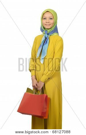Protrait Of Young Modern Moslem Woman Shopping