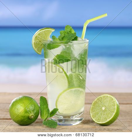 Mojito Or Caipirinha Cocktail Drink On The Beach