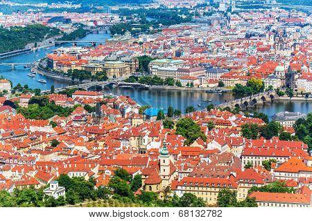 Aerial panorama of Prague, Czech Republic