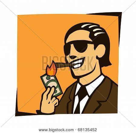 businessman lights a cigar with dollar