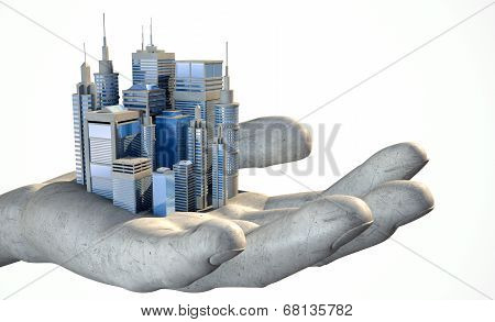 Skyscraper City In The Palm Of A Hand
