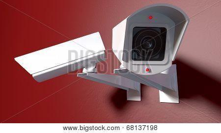 Surveillance Cameras On Red