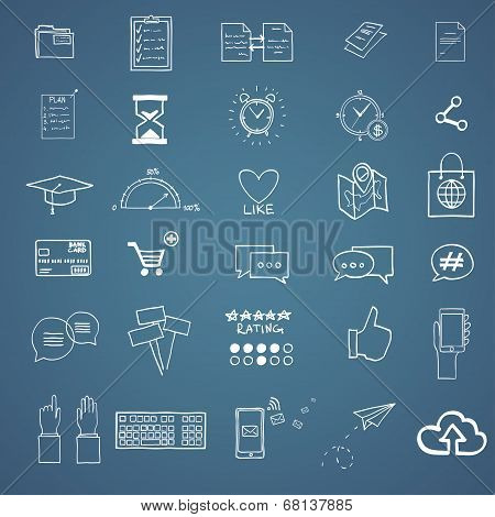 Hand draw social media sign and symbol doodles elements. Concept tweet, hashtag, internet communicat