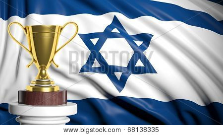 Golden trophy with Israeli flag in background