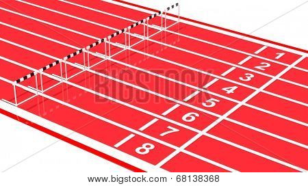 Row of black and white hurdles on running track