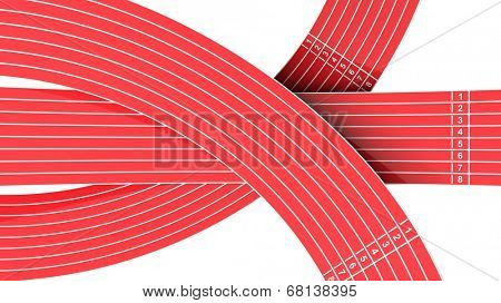 Running tracks going different directions isolated on white