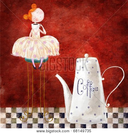 Cute red-head girl with cup of coffee sitting on the chair in the dark red background with teapot
