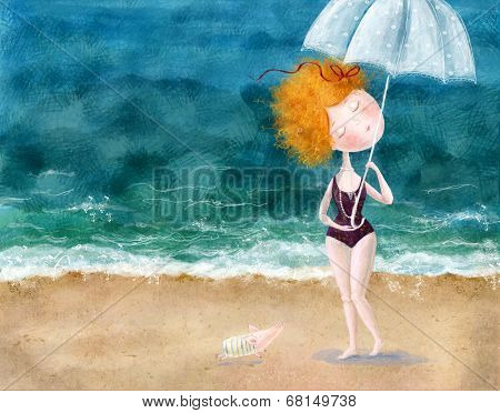 Cute red-head girl with umbrella and little pig on the beach. Sea background.Wallpaper for girl's ro