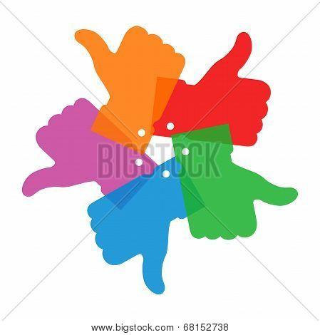 Colorful circle thumb up icons