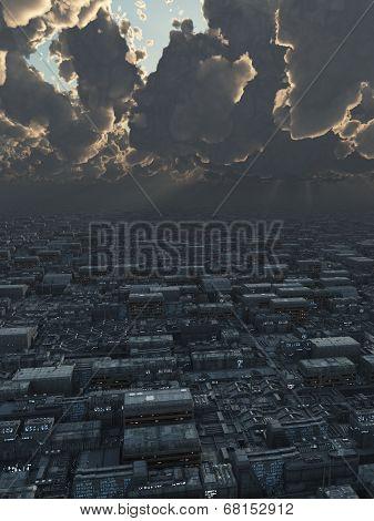 Future City under Storm Clouds