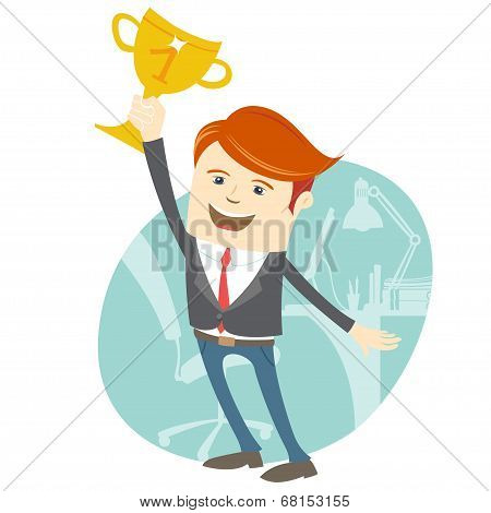 Happy office man holding the cup