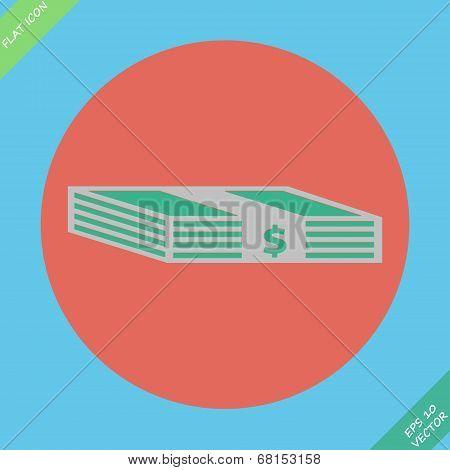 Web icon bundle of bank notes, money, hard cash
