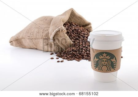 Ankara, Turkey - June 07, 2012:  A Starbucks coffee cup with new designed cup sleeve.