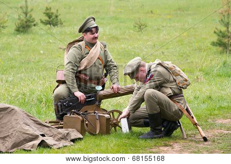 Soldiers And Maxim Machine Gun