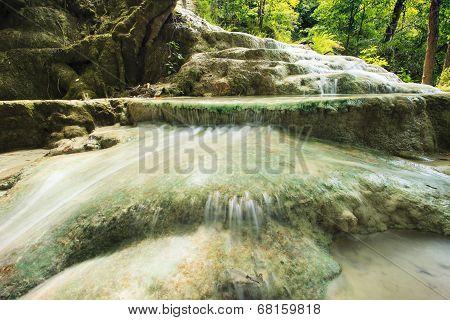 Lime Stone Water Fall In Arawan Water Fall National Park Kanchanaburi Thailand