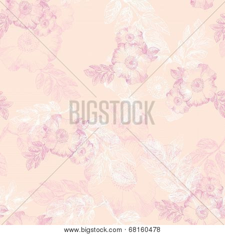 Seamless pattern with flowers of briar
