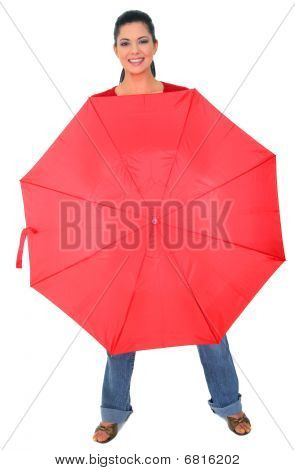 Caucasian Girl Covered With Red Umbrella