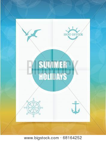 Summer Label On Folded Paper, Vector