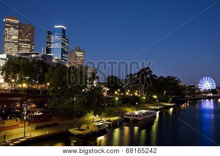 Melbourne Yarra River At Night