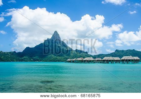 Overwater bungalows in South Pacific
