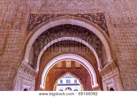 Alhambra Courtyard Myrtles Arches Granada Andalusia Spain