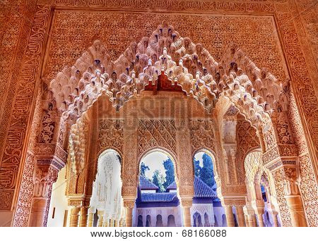 Alhambra Moorish Courtyard Lions Pillars Granada Andalusia Spain