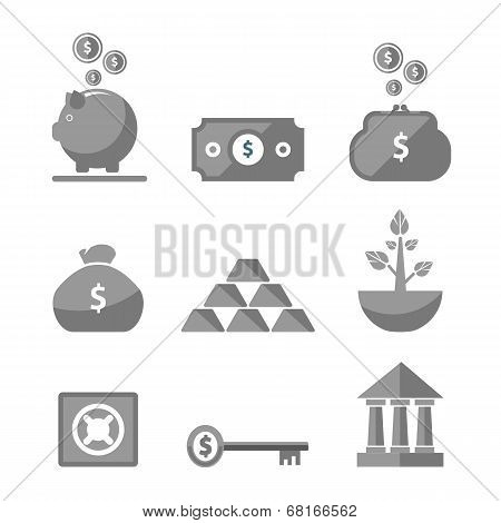 Money Icons In Black Color