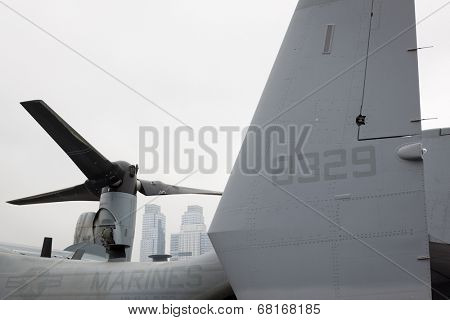 NEW YORK - MAY 22: The Marine Corps V-22 Osprey on the amphibious dock landing ship USS Oak Hill (LSD 51) moored at Pier 92 during Fleet Week NY on May 22, 2014.