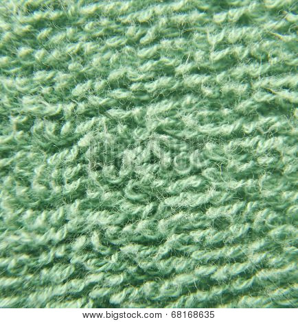 Green Fluffy Cloth Close View