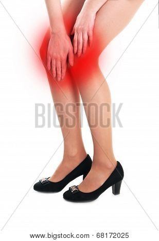 Woman Holding Sore Knee Isolated On White