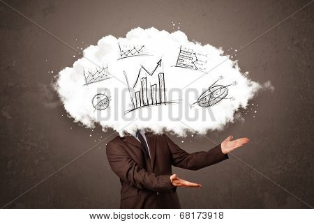 Elegant business man cloud head with hand drawn graphs concept