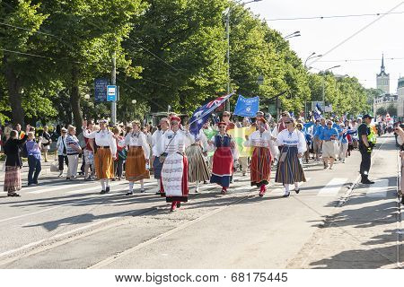 Parade Of Estonian National Song Festival In Tallinn, Estonia